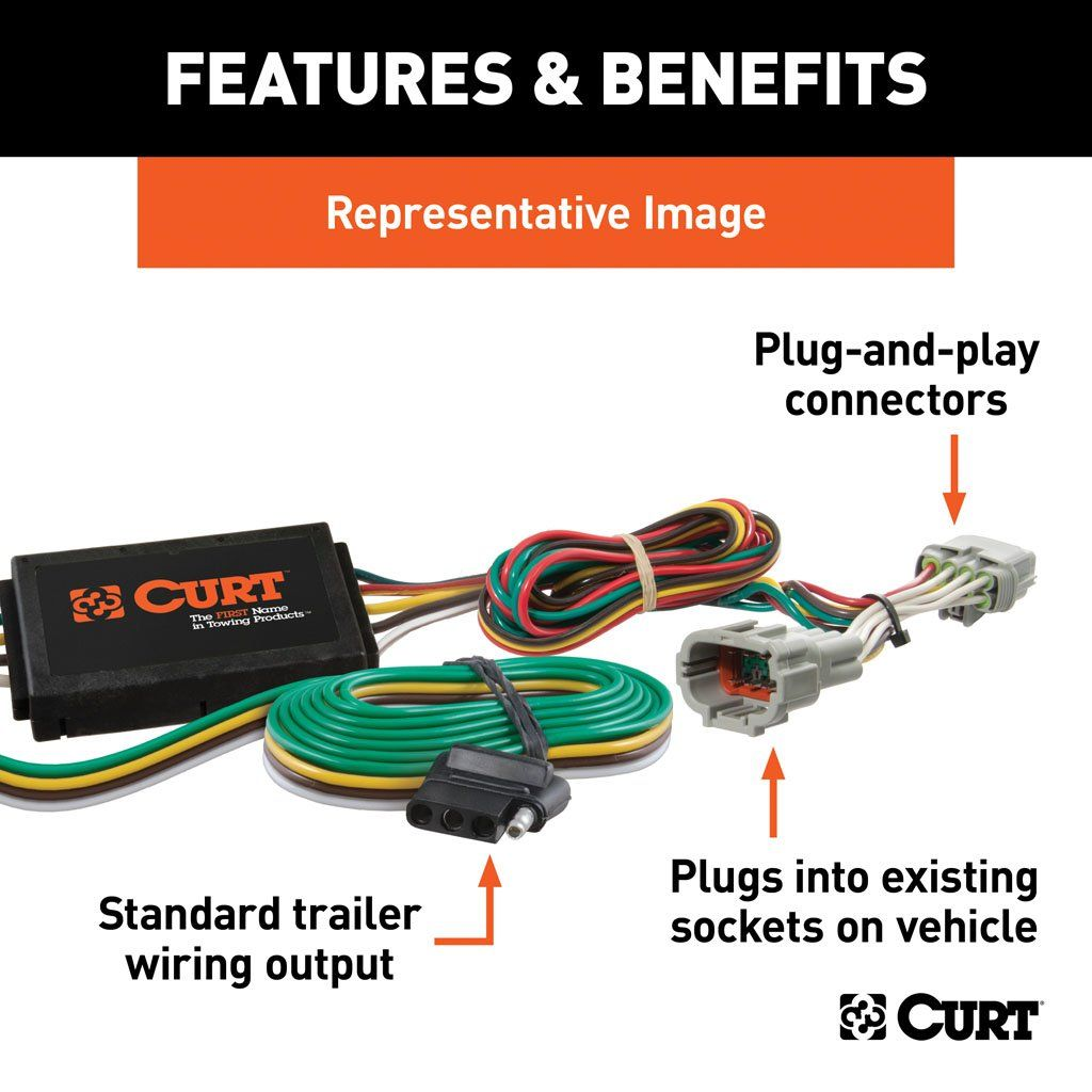 Custom Wiring Harness (4-Way Flat Output) SKU #56254 for $54.02 by CURT  Manufacturing | Hyundai Accent Wiring For Electric |  | Curt Manufacturing