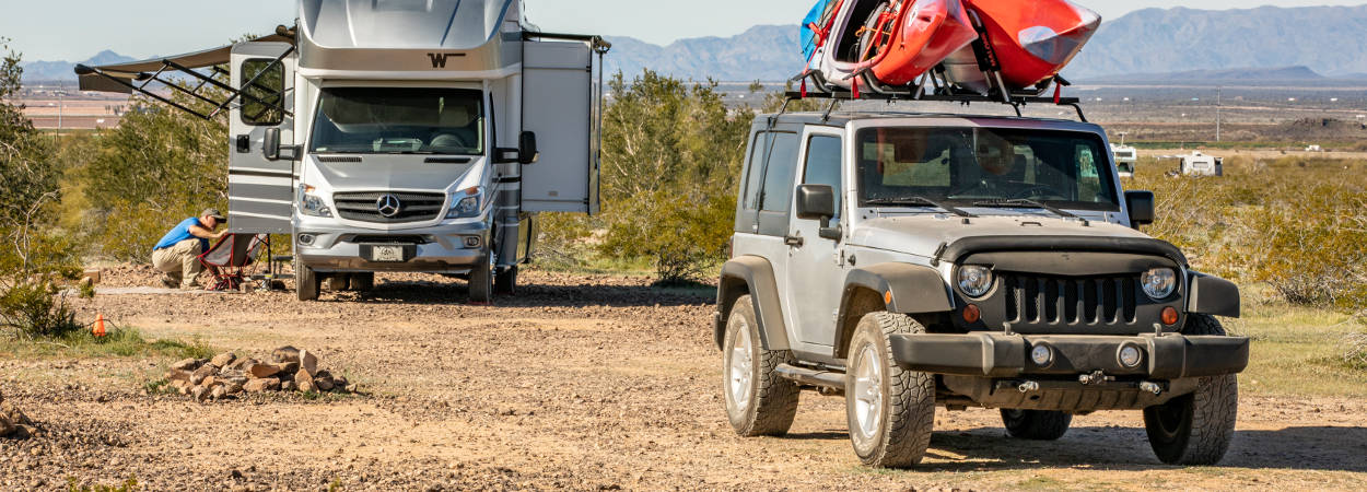 Boondocking with Flat Tow Jeep Wrangler
