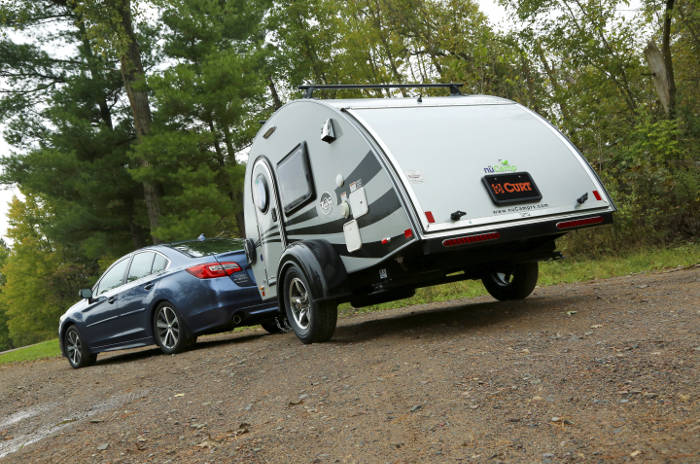 Car Towing Teardrop Trailer