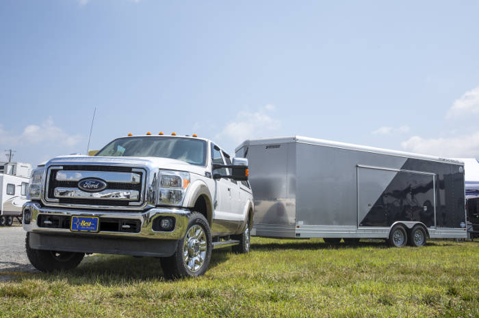 Ford Truck Towing Large Enclosed Trailer