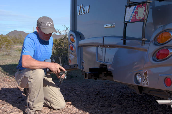 Insert Tow Bar Shank into RV Hitch Receiver