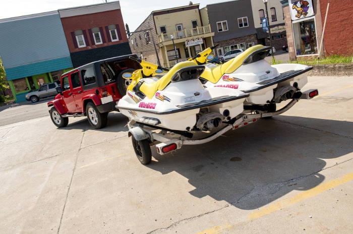 Jeep Towing Jet Ski Trailer
