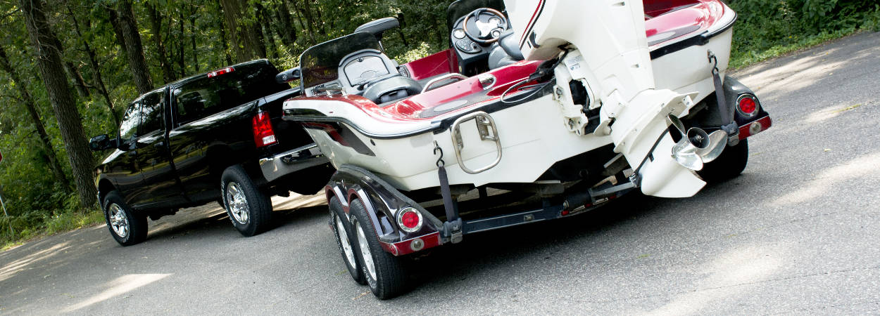 Pickup Truck Coupled to Boat Trailer