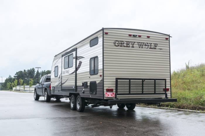 Pickup Truck Towing Large Travel Trailer