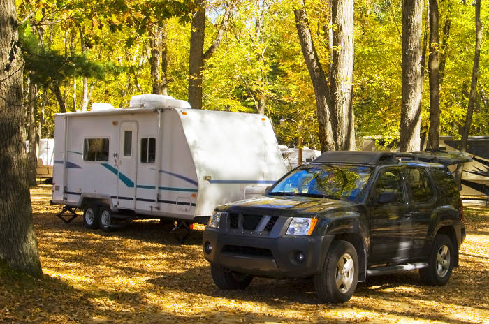SUV Camping with Small Travel Trailer