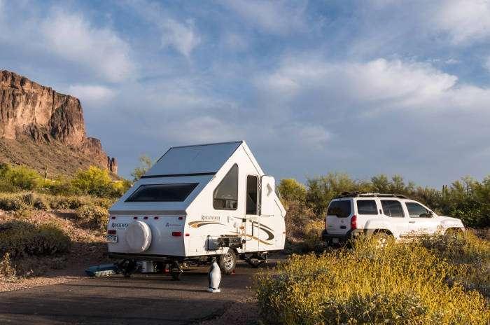 SUV Hauling A-Frame Camper