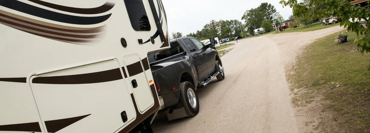 Truck Towing 5th Wheel Trailer