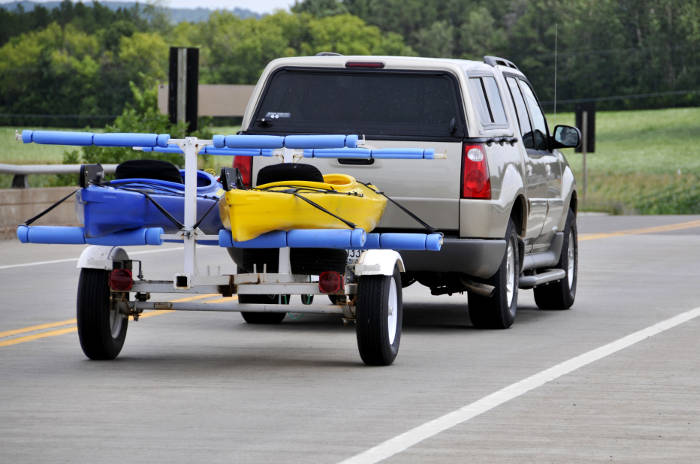 Truck Towing Kayak Trailer