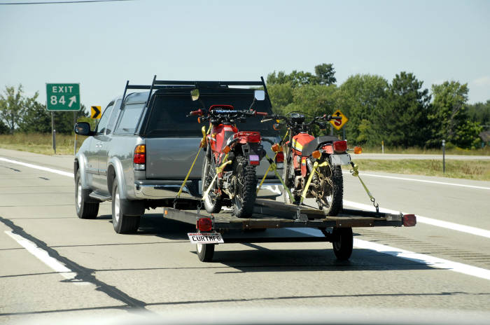 Truck Towing Motorcycle Trailer