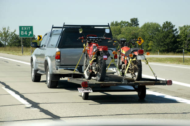 Truck Towing Motorcycle Trailer Sway