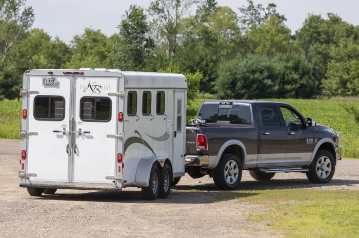 Truck Towing Small Horse Trailer