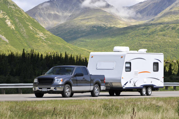 Truck Towing Travel Trailer Class 4 Hitch