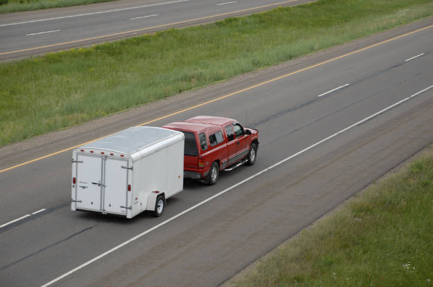 Truck Towing Utility Trailer Highway