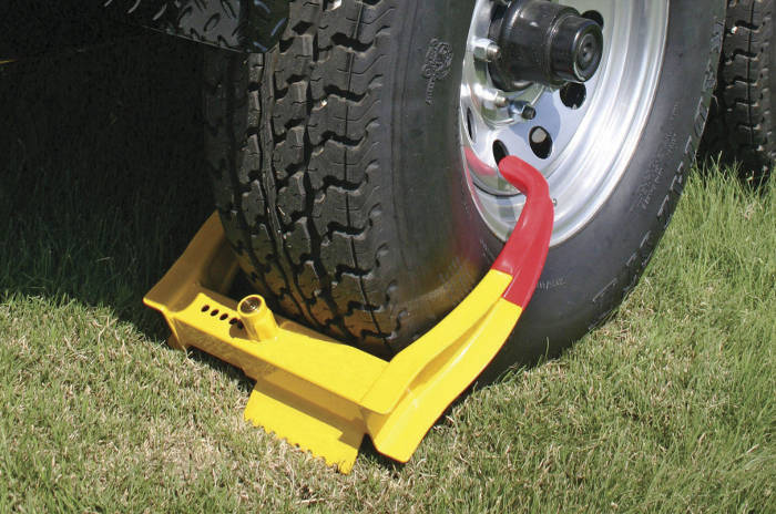 Wheel Chock Lock for Parked Trailer